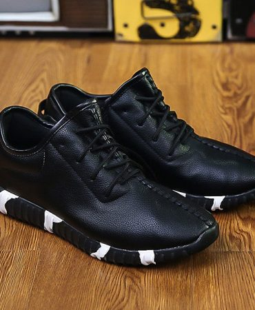 Pu Leather Solid Breathable Athletic Shoes