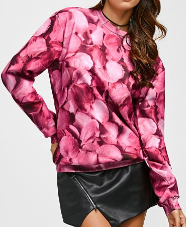Rose Print Design Streetwear Style Flowers Sweatshirt for Women