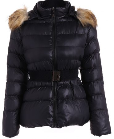 Hooded Padded Casual Solid Belted Faux Fur Winter Ladies Jacket