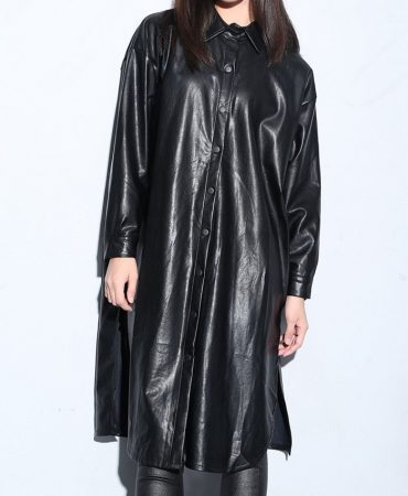 Black Fashionable Long Pu Leather Coat for Women