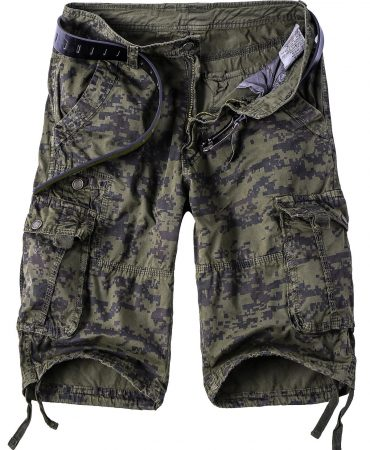 Cotton Blends Camouflage Mens Cargo Shorts