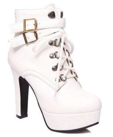Fashion Pu Leather Spring Fall Platform Ankle Boots