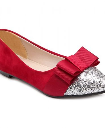 Two Colours Bow Suede Flat Shoes for Women