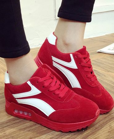 Summer Solid Color Suede Breathable Ladies Sneakers