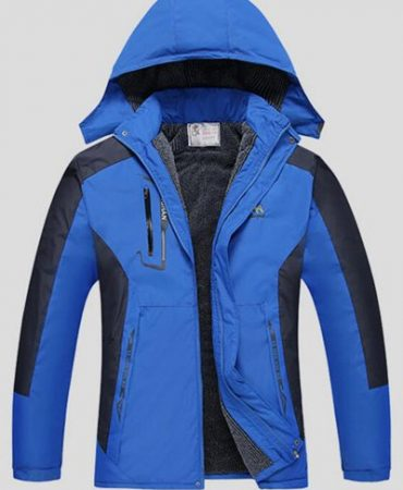 Detachable Hood Mens Ski Jacket