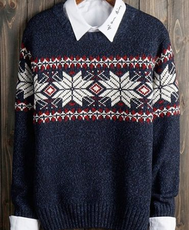 Fashion Polyester Crew Neck Mens Pullover Sweater