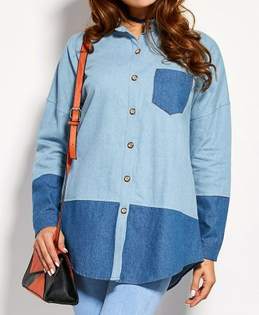 Blue Fashionable Pocket Design Cotton Blends Trendy Jeans Womens Shirt