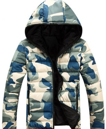 Two Sided Padded Hooded Camouflage Jacket