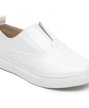 Pu Leather White Pu Leather Womens Flat Shoes