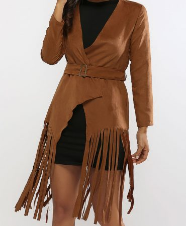 Brown Suede Leather Fall Spring Long Ladies Fringed Coat
