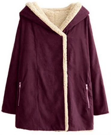 Fashionable Faux Fur Cotton Hooded Solid Pockets Long Ladies Coat