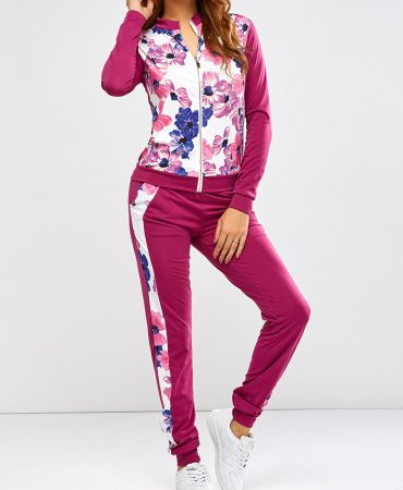 Red Floral Design Womens Sports Jacket and Pants Acivewear