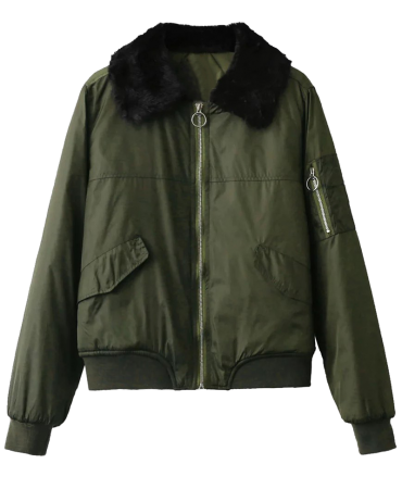 Army Green Fashionable Cotton Blends Trendy Women Padded Jacket