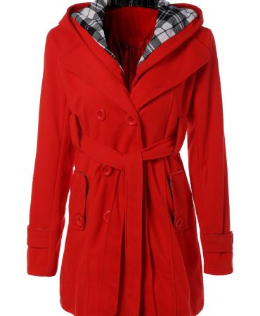 All Seasons  Buttoned Long Sleeve Hooded Wool Solid Womens Coat