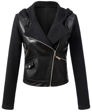 Pu Leather Fashionable Hooded Short Trendy Womens Motorcycle Jacket