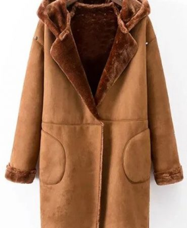 Suede Hooded Long Elegant Pockets Pu Leather Womens Winter Coat