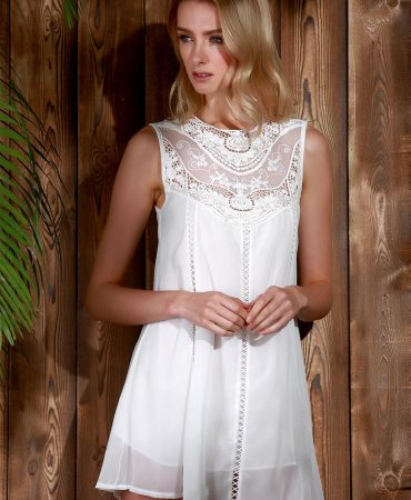 White Sexy Summer Sleeveless Ladies Lace Mini Dress