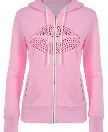 Pink Casual Fall Spring Solid Fashionable Womens Hoodie