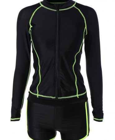 Long Sleeve Black Striped Sports Complet Activewear for Ladie