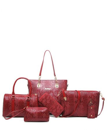 Fashion Pu Leather Metals Trendy Womens Bags Set