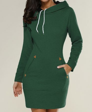 Casual Solid Long Sleeves Ladies Hoodie Mini Dress