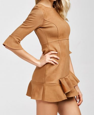 All Seasons Sueded Solid Camel Trendy Fashion Mini Dress for Women