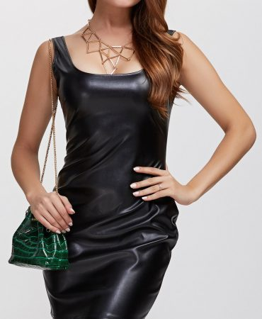 Black Outdoor Sleeveless Backless Pu Leather Dress for Women