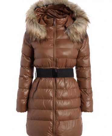 Belted Hooded Fashion Winter Long Trendy Womens Padded Coat