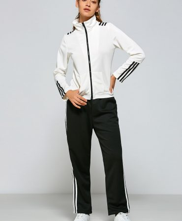 Black White Striped Womens Sports Jacket Pants Complet