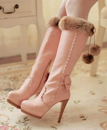 Fashion Trendy Bow Mid Calf Ladies High Heel Boots