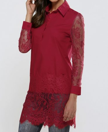 Deep Red All Seasons Fashionable Lace Long Elegant Trendy Womens Shirts