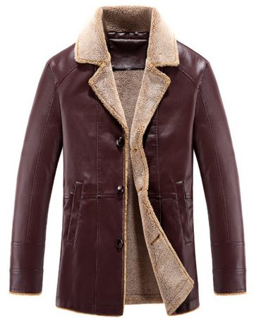 PU Leather Winter Jacket for Men