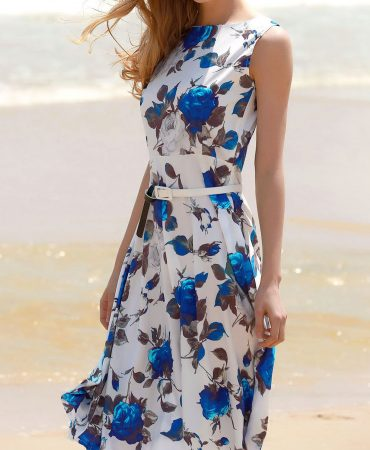Blue Sleeveless Flowers Design Mid Trendy Summer Dress for Women