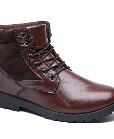 Pu Leather Embellishment Metal Lice Up Boots