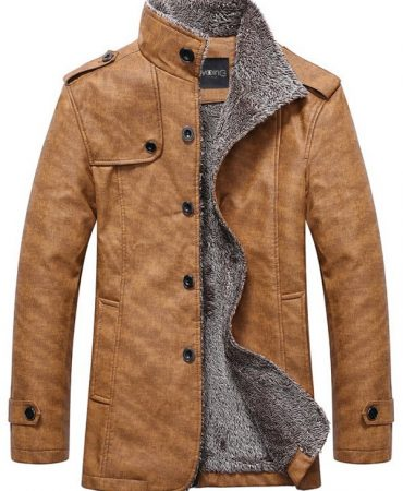 Fashionable Leather Epaulet Mens Winter Jacket