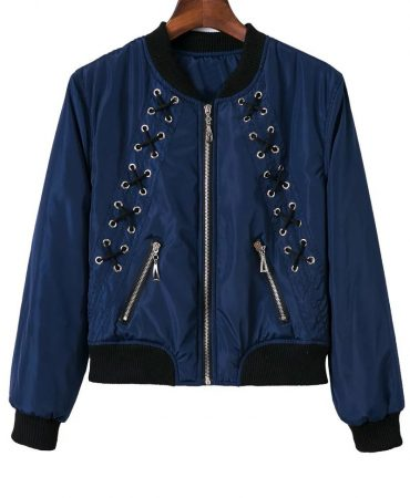Fall Spring Slim Blue Fashionable Zippers Short Trendy Womens Jacket