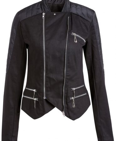 Black Embellishment Zippers Modern Women Jacket
