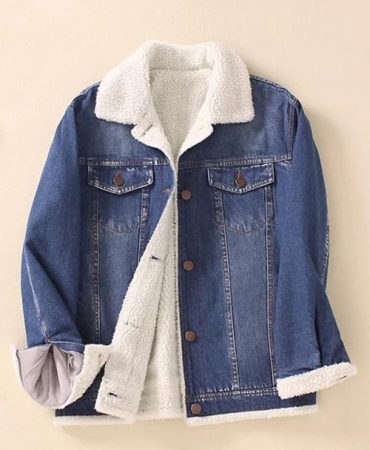 Casual Blue Warm Ladies Jeans Winter Jacket