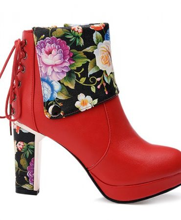 Flowers Design Pu Fashion Ladies Ankle Boots