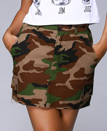 Army Green Camouflage Mini Skirt for Women
