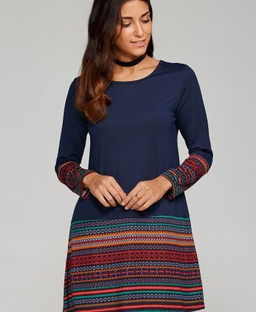 Brief  Long Sleeves Fall Spring T Shirt Dress For Women
