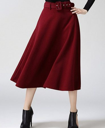 Cotton Wool Solid Pure Colour Fall Winter Skirt for Women