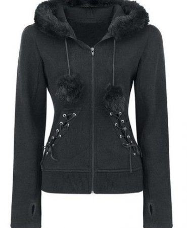 Black Solid Fashion Fall Winter Faux Fur Zippered Trendy Womens Hoodie