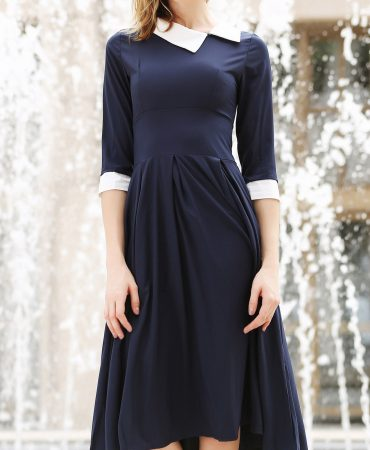 Deep Blue Mid Calf  Scoop Neck Fashionable Trendy Dress for Ladie