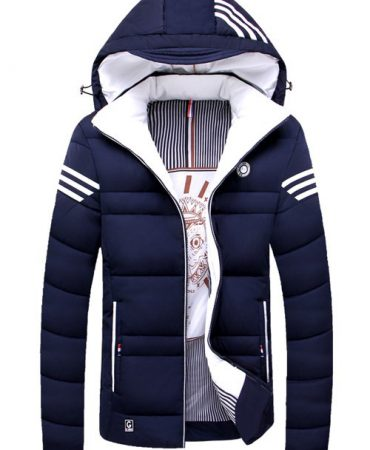 Winter Striped Hooded Quilted Jacket