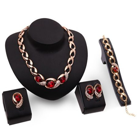 Romantic Red Womens Faux Ruby Jewelry Set