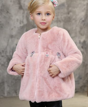 Pink Solid Casual Faux Fur Trendy Coat for Girl