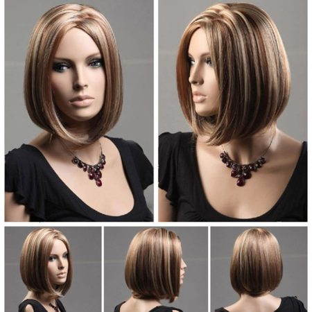 Short Flax Color Synthetic Trendy Wigs for Womens