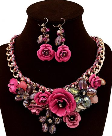 Flowers Design Elegant Womens Jewelrys Set