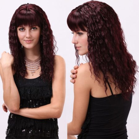 Burgundy Color Long Synthetic Womens Wigs